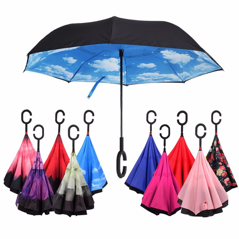 Зонт наоборот c принтом в ассортименте
