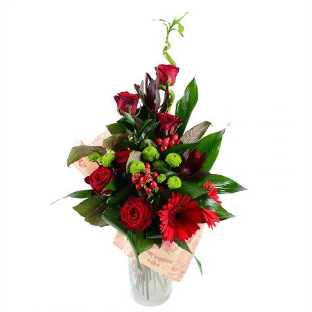 Букет из роз, гербер и хризантем «De Luxe»