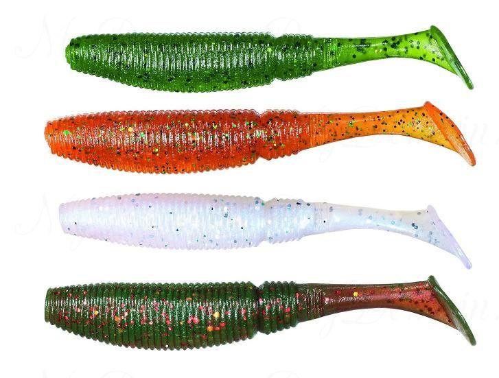 Набор силиконовых приманок (виброхвост) SAKURA SLIT SHAD OPS02 7,5 см цвет 020+029+040+044
