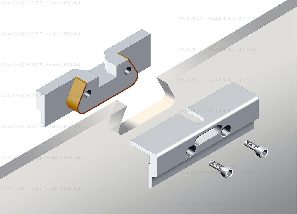 Зажим-подвес для цельно стеклянного дверного полотна с вырезом  (2шт) - OPSVC