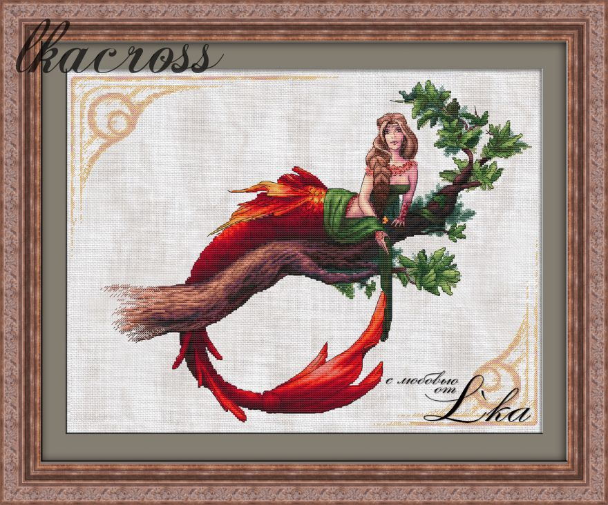 """Mermaid"". Digital cross stitch pattern."