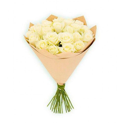 Букет из 21 белой розы 60 см «Воздушный зефир»