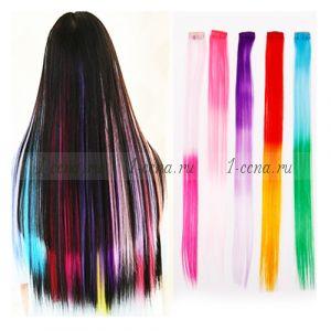 Двухцветные волосы на заколках 5шт.