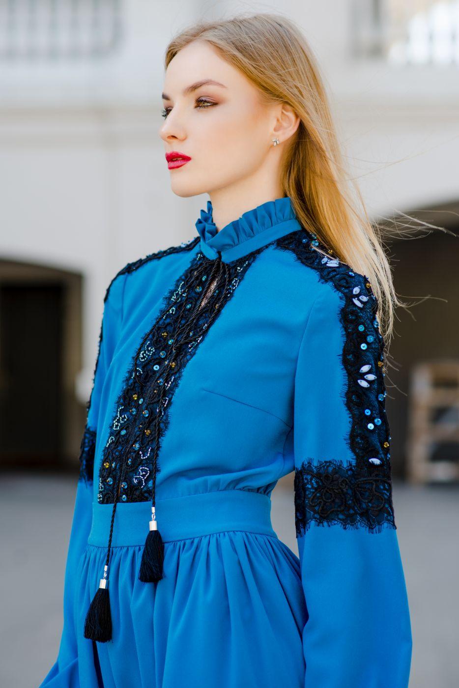Платье длинное вечернее синего цвета Roman Rush