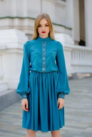 Платье коктейльное с длинными рукавами из шелка Roman Rush