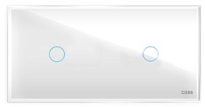 Двухлинейная панель стеклянная белая на два поста CGSS WT-P01+1W