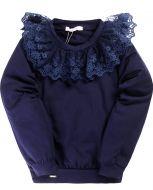 Школьная блузка с кружевом  6-10 лет №BK1113K