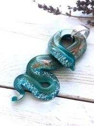 Подвеска Змея с серебром и авентурином муранское стекло