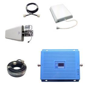 Трехдиапазонный усилитель 2G GSM / DCS / 3G (Репитер) сигнала Repeater (900MHz / 1800MHz / 2100MHz) КОМПЛЕКТ С КАБЕЛЕМ И АНТЕННАМИ