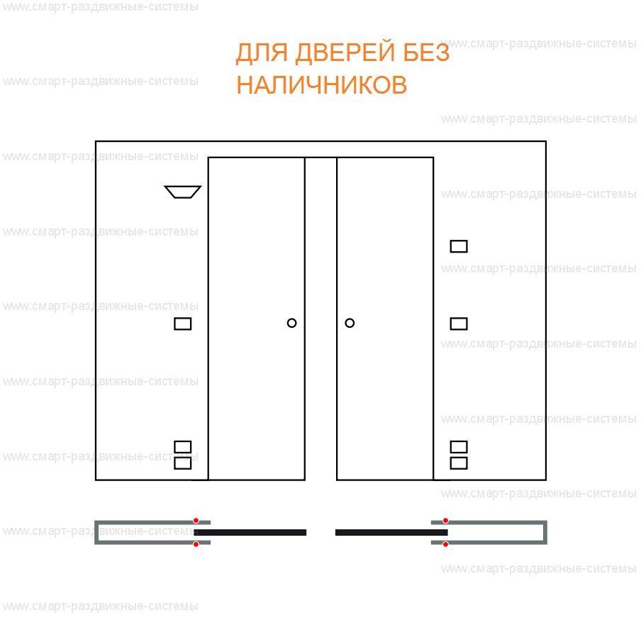 Пенал Eclisse Syntesis Luce Double для двустворчатой раздвижной двери.