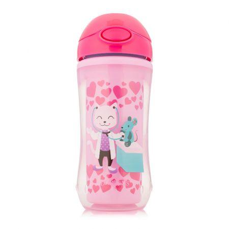 Dr.Brown's Чашка-термос 300 мл с трубочкой, розовые цвета (Др. Китти/Белка-пилот). (Арт. TC01020)