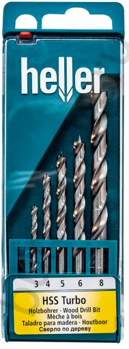 Набор спиральных сверл по дереву Heller HSS turbo (3,4,5,6,8 мм) (5 пр.)
