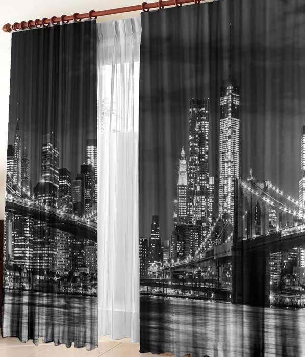 """Фотошторы """"Бруклинский мост"""" Габардин"""
