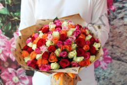 101 роза 40 см в крафт бумаге
