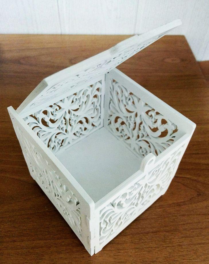 Свадебная шкатулка для колец ажурная
