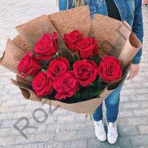9 роз Эквадор в крафт бумаге