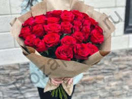 29 роз в крафт бумаге