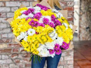 Букет из 25 разноцветных кустовых хризантем с оформлением в крафт бумагу