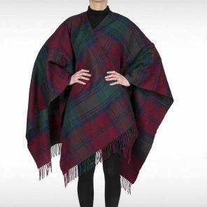 Теплое пончо,  100 % стопроцентная шотландская овечья шерсть, расцветка (тартан) клана Линдси LINDSAY MODERN TARTAN LAMBSWOOL SERAPE , плотность 6