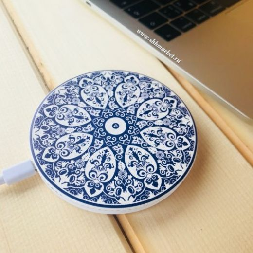 Беспроводное зарядное устройство I-Carer (5-9V-2A) PU Printed Pattern Leather Fast Wireless Charging (ISWXC)