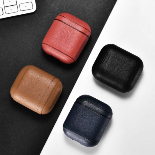 Чехол I-Carer Protective Leather Case для AirPods из натуральной кожи