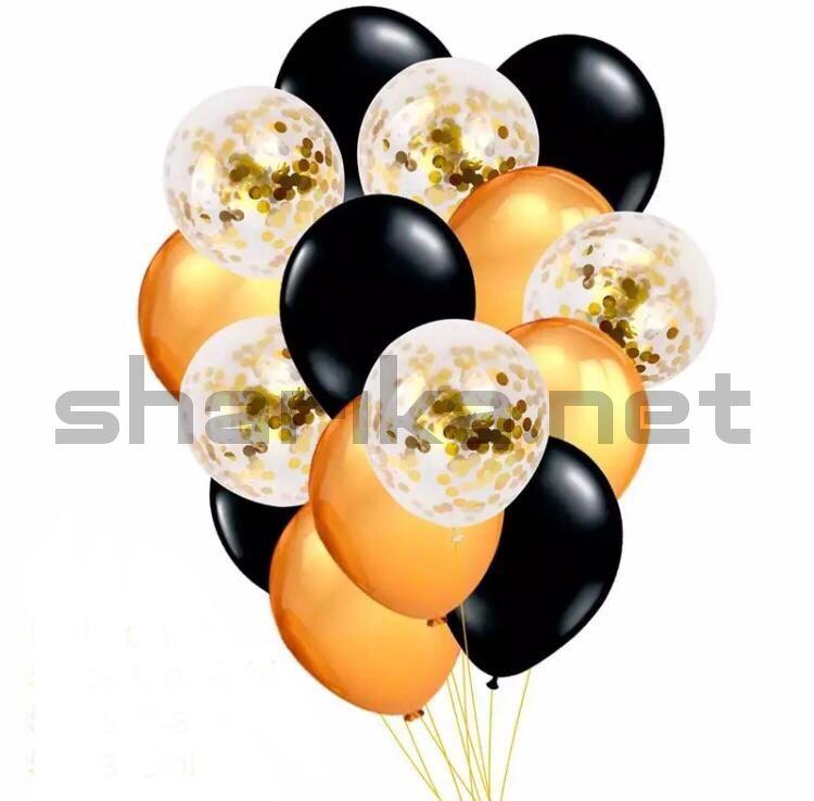 Композиция из золотистых, черных и прозрачных шариков с конфетти
