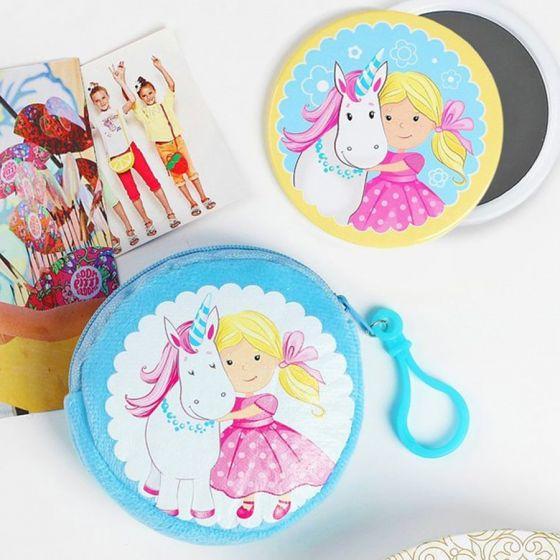 Детский набор «Девочка и единорог»: кошелёк 9 см + зеркало