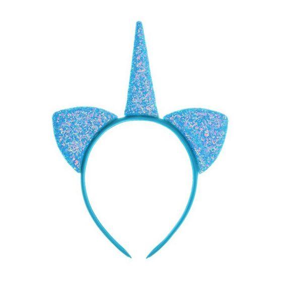 Карнавальный ободок «Единорог» с блёстками, цвет голубой
