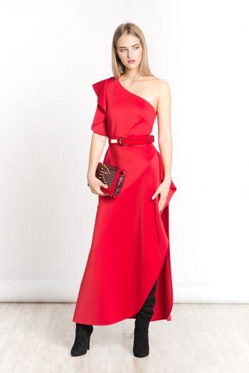 Приталенное платье с открытым плечом красного цвета ROMAN RUSH