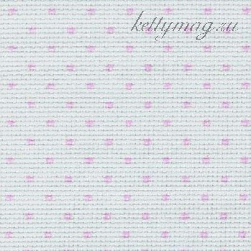 Канва Zweigart STERN-AIDA PETIT-POINT 14 CT.№4229 белый с розовым горошком