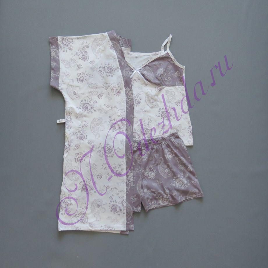 Комплект - халат с сорочкой и шортами