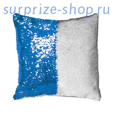 Подушка пайеточная 34х34 Синяя