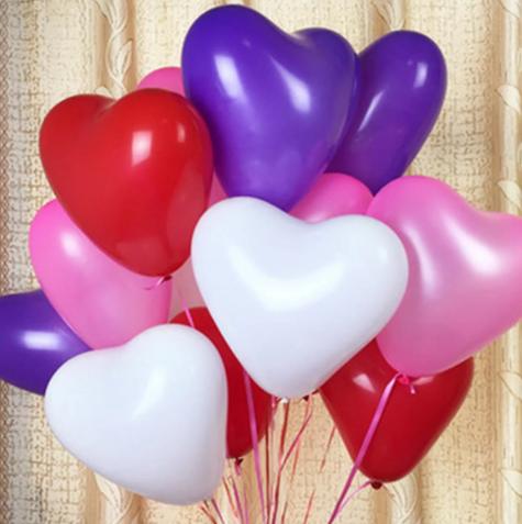 """Набор шаров """"Сердце"""" (красные , белые, розовые, фиолетовые)"""
