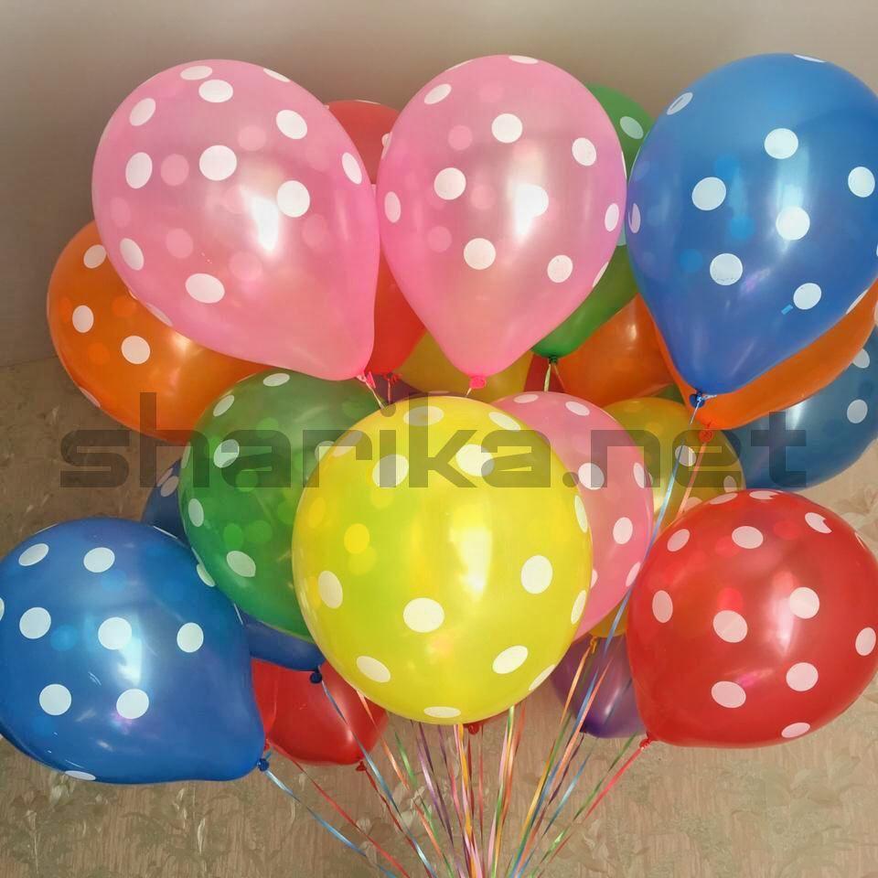 Облако воздушных шариков (12''/30 см) Точки ассорти
