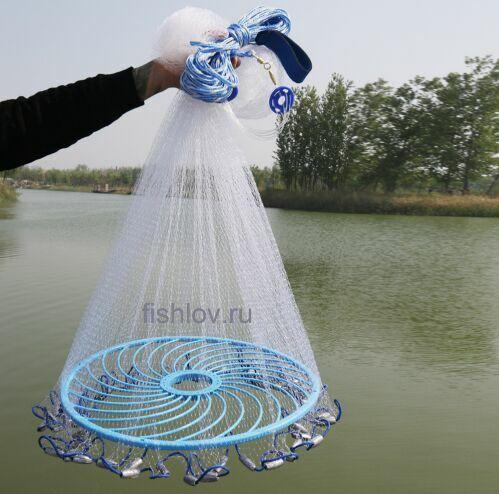 Кастинговая сеть (KALUGA) из лески D 4,4м с большим падающим к грузам пластиковым кольцом 48см+ подарок.(Россия)