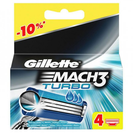 06* 4шт. Gillette Mach3 Turbo сменные кассеты (4 шт)