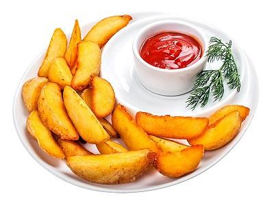 Картофельные дольки  с соусом на выбор