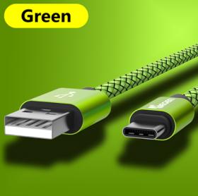 Кабель USB Type-C 25см зеленый
