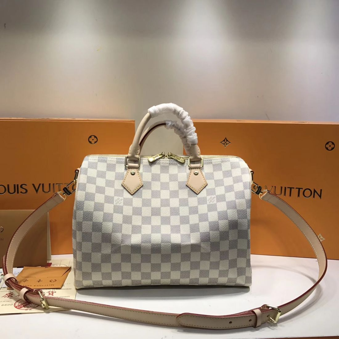 Сумка Louis Vuitton Speedy 30 Damier Azur Canvas