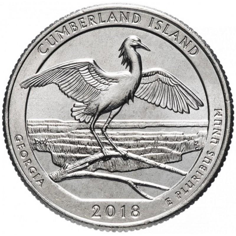"25 центов 2018г. 44-й парк ""Камберленд Айсленд (Cumberland Island)"""
