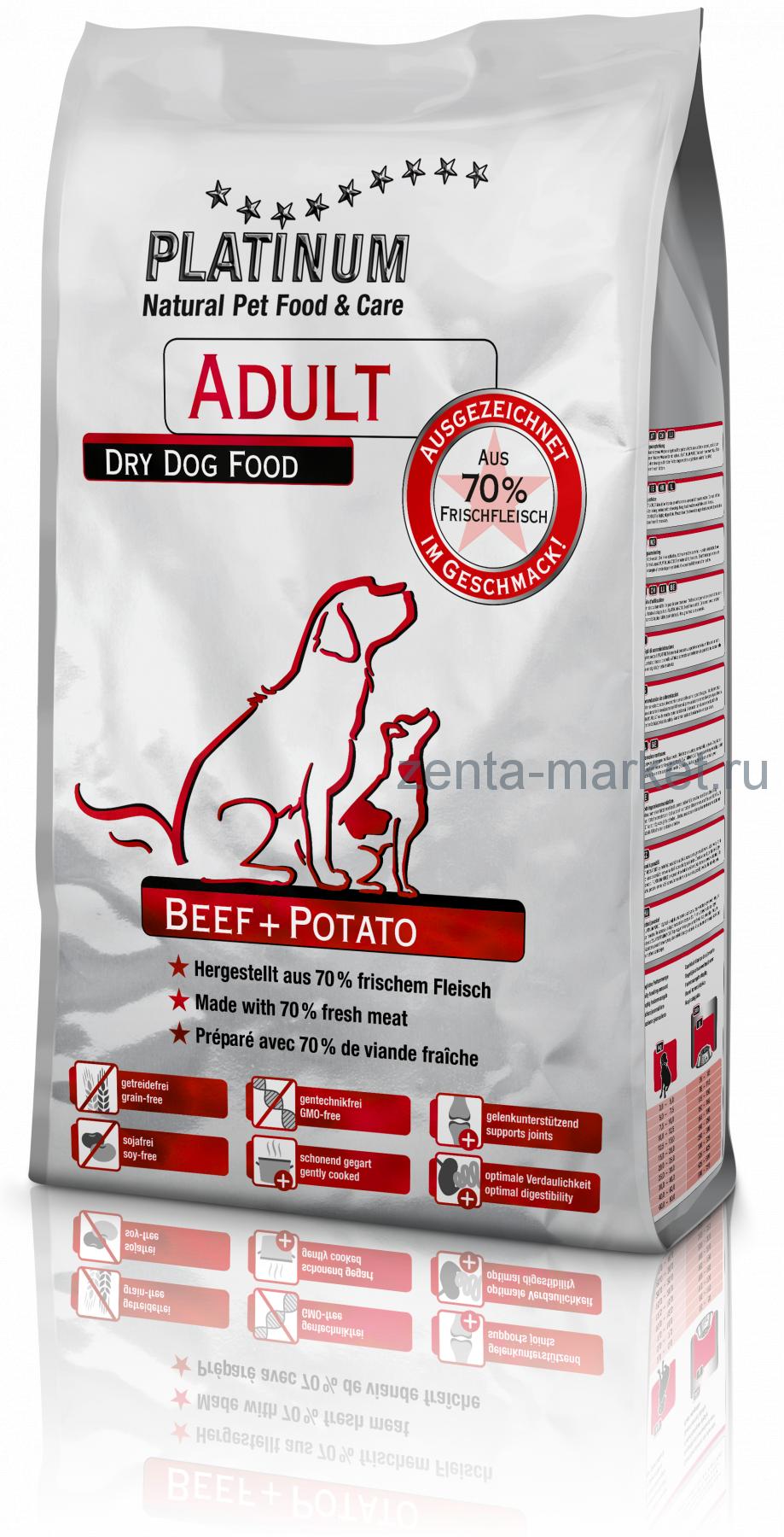Platinum Adult Beef & Potato (ГОВЯДИНА С КАРТОФЕЛЕМ) 1.5кг, 5кг, 10 кг, 15кг, 31.5 кг;