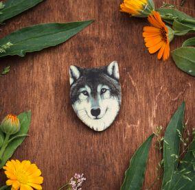 Брошь Серый волк