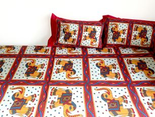 Красное индийское покрывало на кровать - Слоны (Москва)
