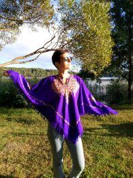 New! Фиолетовое женское шерстяное пончо (Москва)