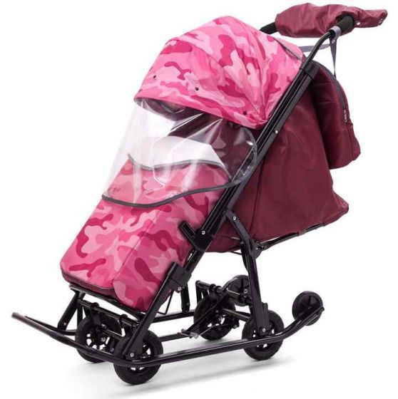Санки коляска Pikate Compact Military Розовый