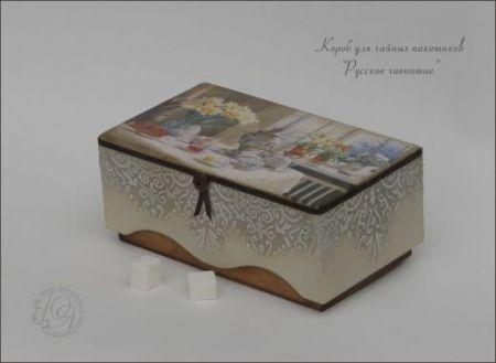 """Короб для чайных пакетиков """"Русское чаепитие"""""""