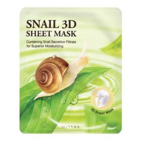 MISSHA Healing Snail 3D Sheet Mask 23g- Маска для лица с муцином улитки