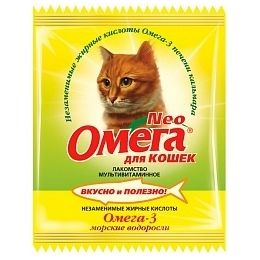 Витамины Омега Neo для кошек с морскими водорослями, 15 таб.