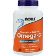 NOW  Omega-3 (Пр-во США) 200 желатиновых капсул