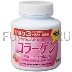 Жевательные таблетки с коллагеном Orihiro Collagen со вкусом персика (180 таб., 90 дней)